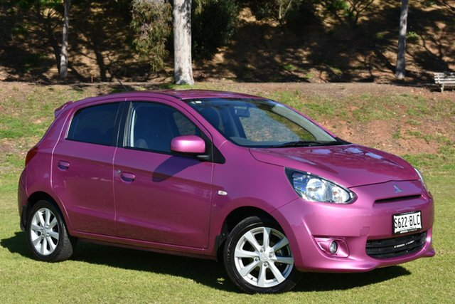 Used Mitsubishi Mirage LA MY14 LS, 2014 Mitsubishi Mirage LA MY14 LS Purple 5 Speed Manual Hatchback
