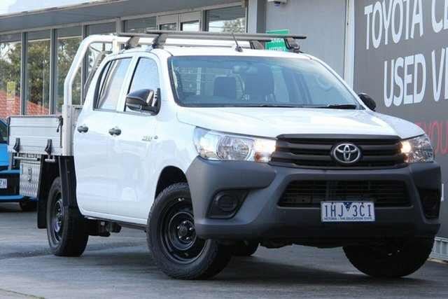 Used Toyota Hilux TGN121R Workmate Double Cab 4x2, 2016 Toyota Hilux TGN121R Workmate Double Cab 4x2 Glacier White 6 Speed Sports Automatic Utility