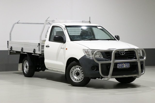 Used Toyota Hilux TGN16R MY14 Workmate, 2014 Toyota Hilux TGN16R MY14 Workmate White 4 Speed Automatic Cab Chassis