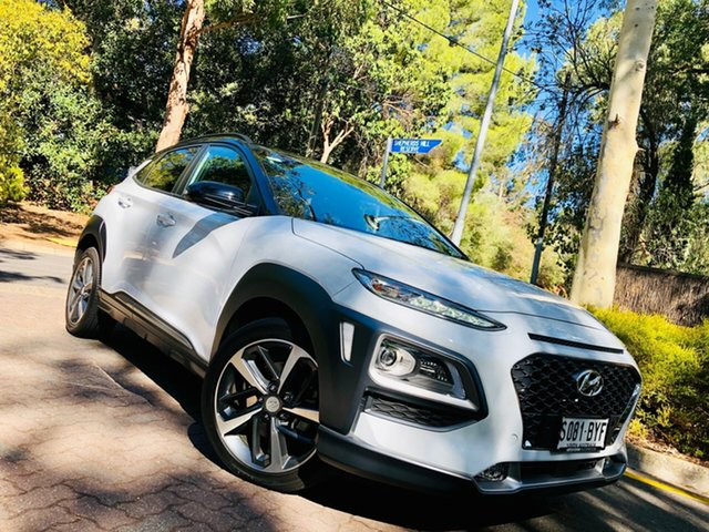Demo Hyundai Kona OS.2 MY19 Highlander 2WD, 2018 Hyundai Kona OS.2 MY19 Highlander 2WD Chalk White & Black Roof 6 Speed Sports Automatic Wagon