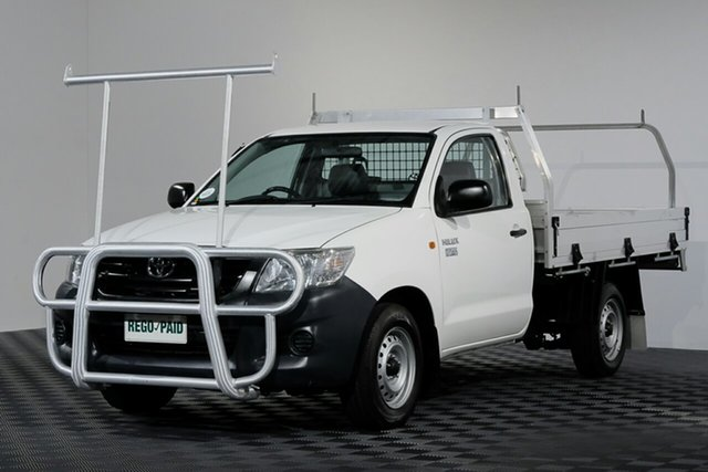 Used Toyota Hilux TGN16R MY14 Workmate 4x2, 2013 Toyota Hilux TGN16R MY14 Workmate 4x2 Glacier White 4 Speed Automatic Cab Chassis