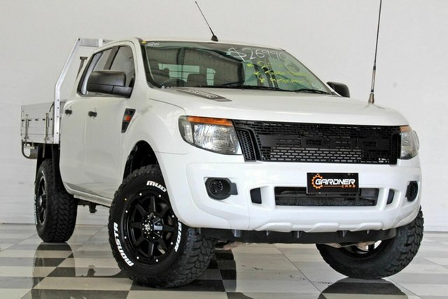 Used Ford Ranger PX XL 2.2 Hi-Rider (4x2), 2014 Ford Ranger PX XL 2.2 Hi-Rider (4x2) White 6 Speed Automatic Crew Cab Chassis