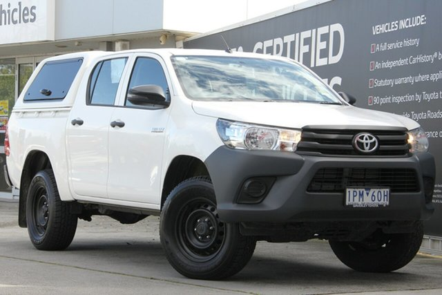 Used Toyota Hilux GUN135R Workmate Double Cab 4x2 Hi-Rider, 2019 Toyota Hilux GUN135R Workmate Double Cab 4x2 Hi-Rider Glacier White 6 Speed Sports Automatic