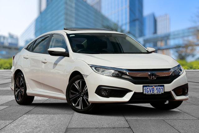 Demo Honda Civic 10th Gen MY18 VTi-LX, 2018 Honda Civic 10th Gen MY18 VTi-LX White Orchid 1 Speed Constant Variable Sedan