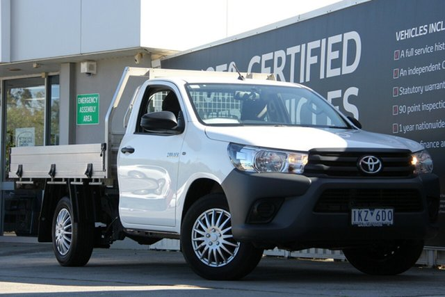 Used Toyota Hilux TGN121R Workmate 4x2, 2017 Toyota Hilux TGN121R Workmate 4x2 Glacier White 6 Speed Sports Automatic Cab Chassis