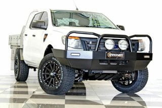 2013 Ford Ranger PX XL 2.2 Hi-Rider (4x2) White 6 Speed Automatic Crew Cab Chassis.