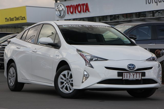 Demo Toyota Prius ZVW50R , 2018 Toyota Prius ZVW50R Glacier White 1 Speed Constant Variable Liftback Hybrid
