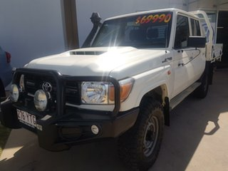 2017 Toyota Landcruiser VDJ79R MY18 Workmate (4x4) White 5 Speed Manual Double Cab Chassis