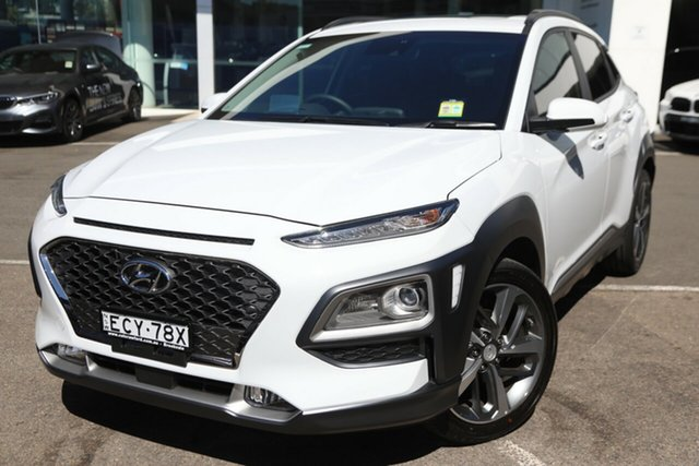 Demo Hyundai Kona OS.2 MY19 Highlander 2WD, 2019 Hyundai Kona OS.2 MY19 Highlander 2WD Chalk White 6 Speed Sports Automatic Wagon
