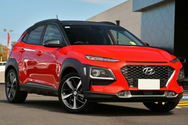 New Hyundai Kona OS.3 MY20 Highlander 2WD, 2020 Hyundai Kona OS.3 MY20 Highlander 2WD Pulse Red & Black Roof 6 Speed Sports Automatic Wagon