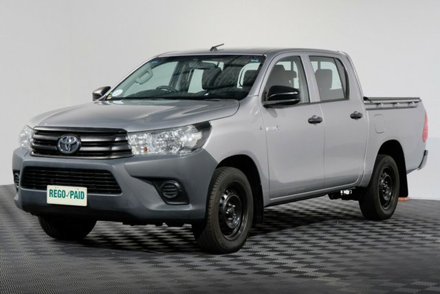 Used Toyota Hilux GUN122R Workmate Double Cab 4x2, 2016 Toyota Hilux GUN122R Workmate Double Cab 4x2 Silver Sky 5 Speed Manual Utility