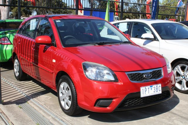Used Kia Rio JB MY10 S West Footscray, 2010 Kia Rio JB MY10 S Maroon 5 Speed Manual Hatchback