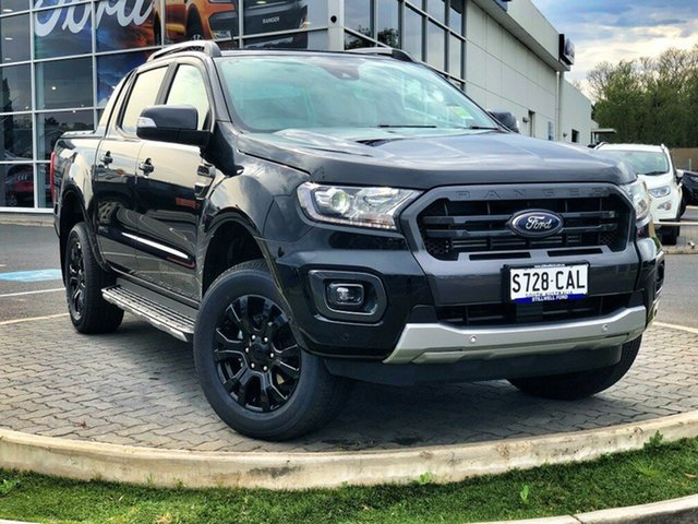 Demo Ford Ranger PX MkIII 2019.75MY Wildtrak Pick-up Double Cab, 2019 Ford Ranger PX MkIII 2019.75MY Wildtrak Pick-up Double Cab Shadow Black 10 Speed