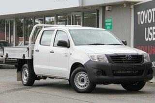 2014 Toyota Hilux TGN16R MY14 Workmate Double Cab 4x2 Glacier White 5 Speed Manual Utility.