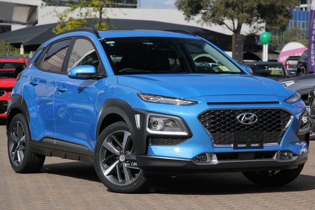New Hyundai Kona OS.3 MY20 Highlander D-CT AWD Tuggerah, 2020 Hyundai Kona OS.3 MY20 Highlander D-CT AWD Blue Lagoon 7 Speed Sports Automatic Dual Clutch