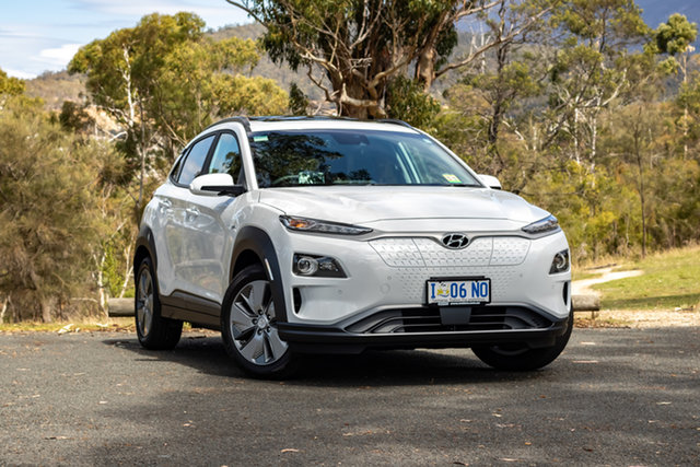 Demo Hyundai Kona OS.3 MY19 electric Highlander, 2019 Hyundai Kona OS.3 MY19 electric Highlander Chalk White 1 Speed Reduction Gear Wagon