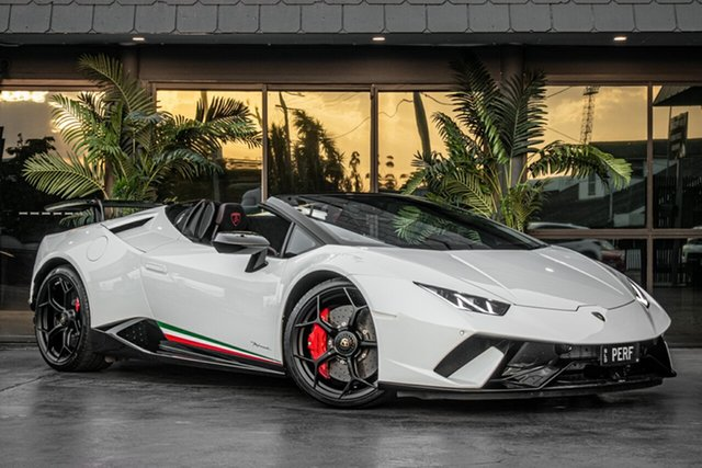 Used Lamborghini Huracan 724 MY19 Performante Spyder D-CT AWD, 2019 Lamborghini Huracan 724 MY19 Performante Spyder D-CT AWD White 7 Speed
