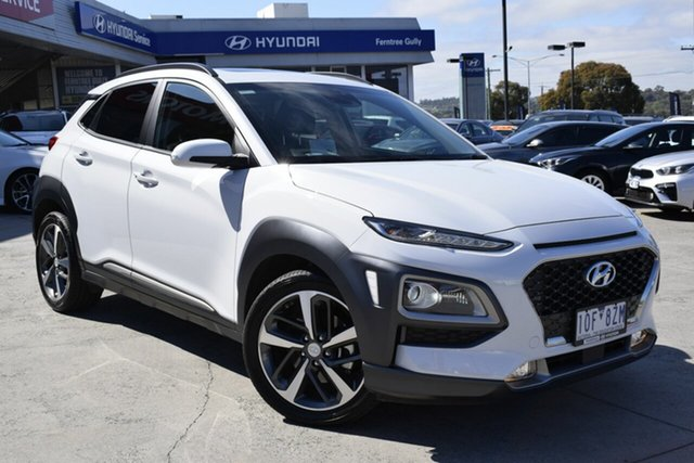 Used Hyundai Kona OS.2 MY19 Highlander D-CT AWD, 2018 Hyundai Kona OS.2 MY19 Highlander D-CT AWD Chalk White 7 Speed Sports Automatic Dual Clutch
