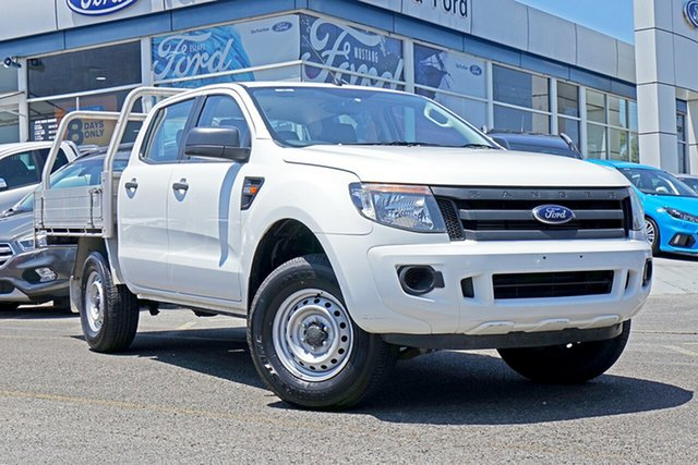 Used Ford Ranger PX XL Double Cab 4x2 Hi-Rider, 2014 Ford Ranger PX XL Double Cab 4x2 Hi-Rider White 6 Speed Sports Automatic Cab Chassis