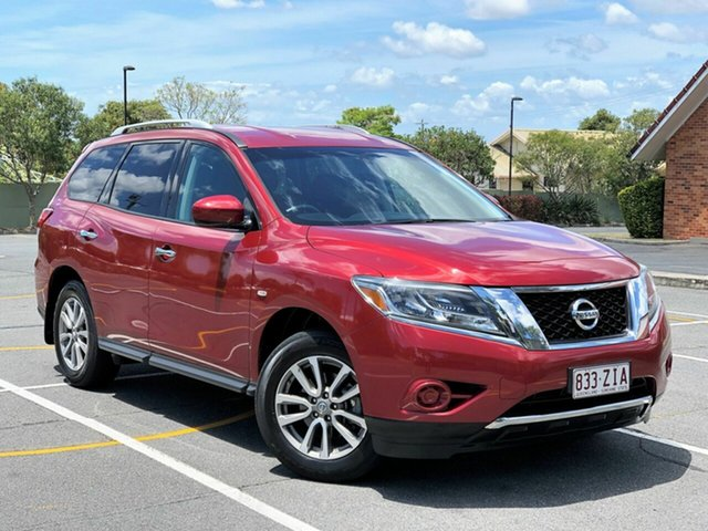 Used Nissan Pathfinder R52 MY15 ST X-tronic 2WD, 2014 Nissan Pathfinder R52 MY15 ST X-tronic 2WD Maroon 1 Speed Constant Variable Wagon