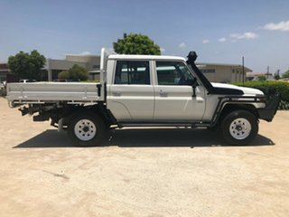 2014 Toyota Landcruiser VDJ79R MY13 Workmate Double Cab White 5 Speed Manual Cab Chassis.