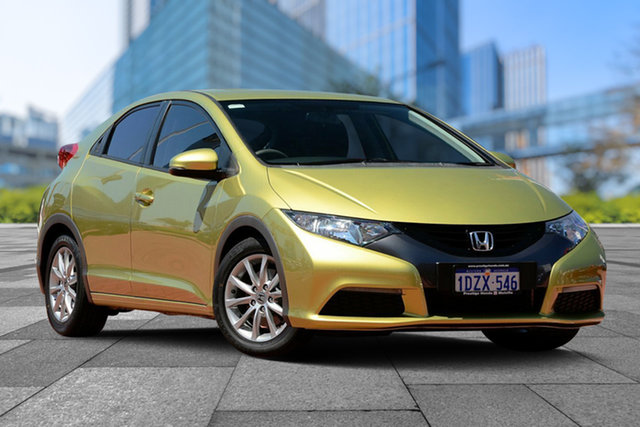 Used Honda Civic 9th Gen VTi-S, 2012 Honda Civic 9th Gen VTi-S Yellow 5 Speed Sports Automatic Hatchback