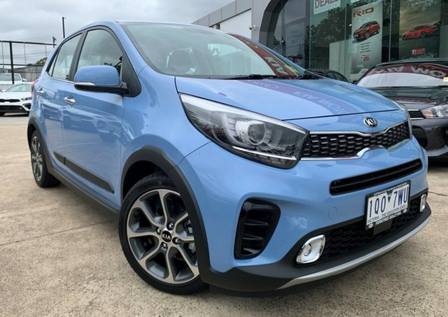 Demo Kia Picanto JA MY19 X-Line, 2019 Kia Picanto JA MY19 X-Line Alice Blue 4 Speed Automatic Hatchback