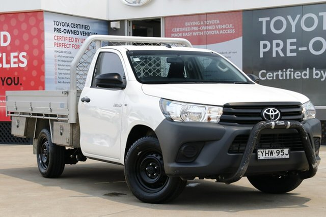 Used Toyota Hilux TGN121R MY19 Workmate, 2018 Toyota Hilux TGN121R MY19 Workmate Glacier White 6 Speed Automatic Cab Chassis