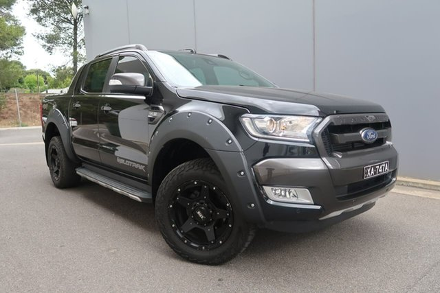 Used Ford Ranger PX MkII 2018.00MY Wildtrak Double Cab, 2017 Ford Ranger PX MkII 2018.00MY Wildtrak Double Cab Black 6 Speed Sports Automatic Utility