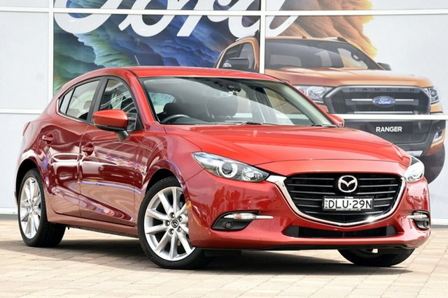 Used Mazda 3 BN5438 SP25 SKYACTIV-Drive, 2017 Mazda 3 BN5438 SP25 SKYACTIV-Drive Red 6 Speed Sports Automatic Hatchback