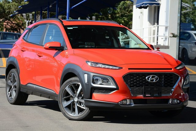 New Hyundai Kona OS.3 MY20 Highlander D-CT AWD, 2019 Hyundai Kona OS.3 MY20 Highlander D-CT AWD Tangerine Comet 7 Speed Sports Automatic Dual Clutch