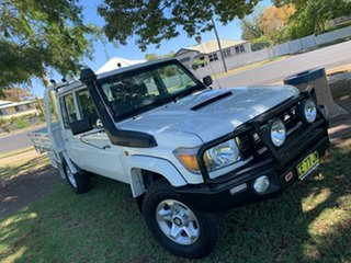 2015 Toyota Landcruiser VDJ79R GXL Double Cab White 5 Speed Manual Cab Chassis.