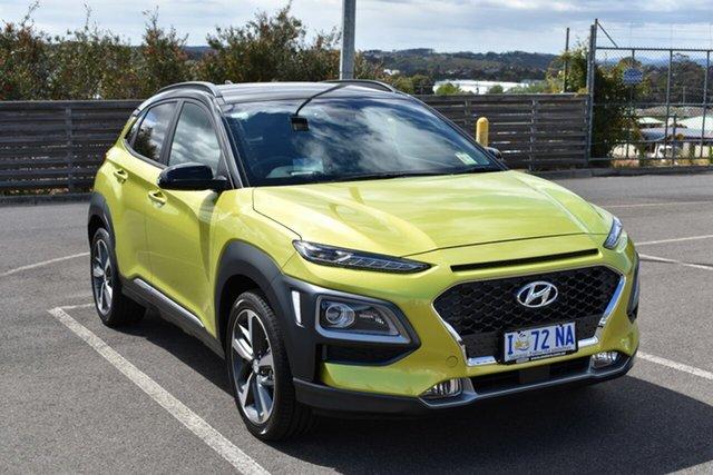 Demo Hyundai Kona OS.3 MY20 Highlander 2WD, 2019 Hyundai Kona OS.3 MY20 Highlander 2WD Acid Yellow & Black Roof 6 Speed Sports Automatic Wagon