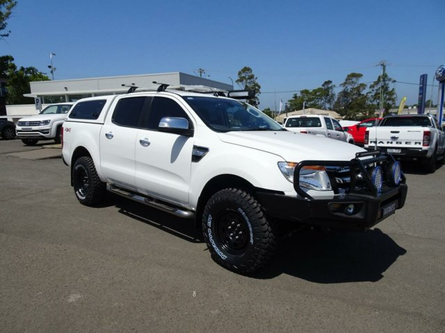 Used Ford Ranger PX XLT Double Cab, 2012 Ford Ranger PX XLT Double Cab Cool White 6 Speed Manual Utility