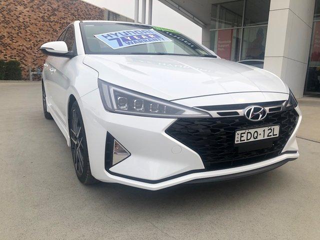 Demo Hyundai Elantra AD.2 MY20 Sport DCT, 2019 Hyundai Elantra AD.2 MY20 Sport DCT Polar White 7 Speed Sports Automatic Dual Clutch Sedan