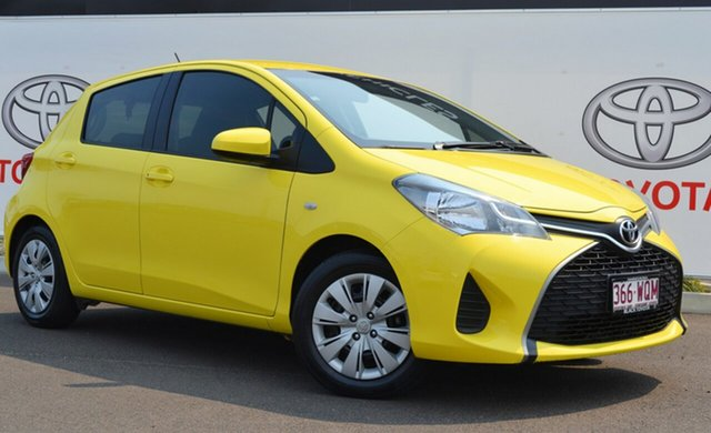 Used Toyota Yaris NCP130R MY15 Ascent, 2015 Toyota Yaris NCP130R MY15 Ascent Vivid Yellow 5 Speed Manual Hatchback