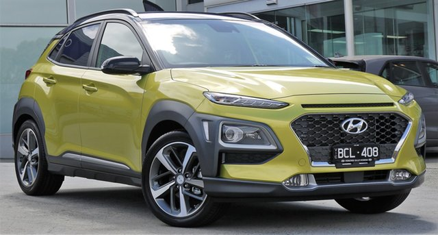 Demo Hyundai Kona OS.2 MY19 Highlander 2WD, 2019 Hyundai Kona OS.2 MY19 Highlander 2WD Acid Yellow & Black Roof 6 Speed Sports Automatic Wagon
