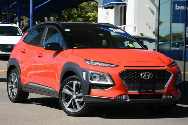 New Hyundai Kona OS.3 MY20 Highlander 2WD, 2019 Hyundai Kona OS.3 MY20 Highlander 2WD Tangerine Comet & Black Roof 6 Speed Sports Automatic