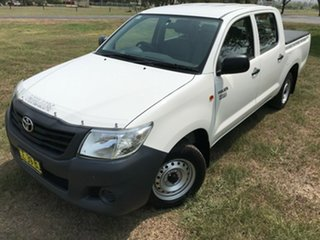 2013 Toyota Hilux TGN16R MY12 Workmate Double Cab 4x2 Glacier White 5 Speed Manual Utility.
