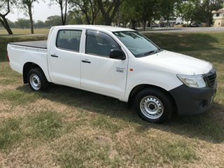 2013 Toyota Hilux TGN16R MY12 Workmate Double Cab 4x2 Glacier White 5 Speed Manual Utility