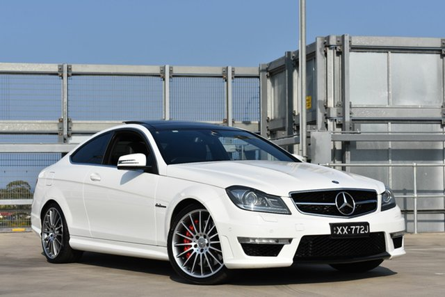 Used Mercedes-Benz C-Class C204 MY13 C63 AMG SPEEDSHIFT MCT, 2012 Mercedes-Benz C-Class C204 MY13 C63 AMG SPEEDSHIFT MCT White 7 Speed Sports Automatic Coupe