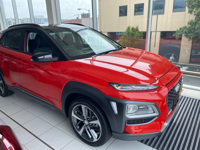 Demo Hyundai Kona OS.3 MY20 Highlander 2WD, 2019 Hyundai Kona OS.3 MY20 Highlander 2WD Tangerine Comet & Black Roof 6 Speed Sports Automatic