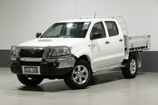 2013 Toyota Hilux KUN26R MY12 SR (4x4) White 5 Speed Manual Dual Cab Chassis