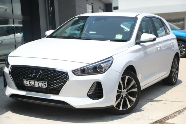 Demo Hyundai i30 PD2 MY20 Elite D-CT, 2019 Hyundai i30 PD2 MY20 Elite D-CT Polar White 7 Speed Sports Automatic Dual Clutch Hatchback