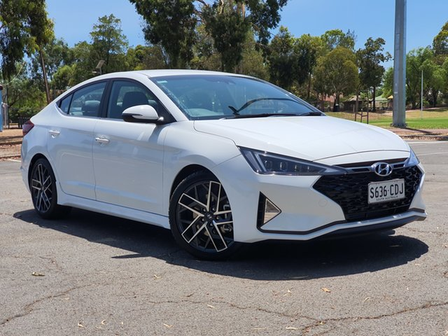 Demo Hyundai Elantra AD.2 MY20 Sport DCT, 2019 Hyundai Elantra AD.2 MY20 Sport DCT Polar White 7 Speed Sports Automatic Dual Clutch Sedan