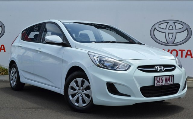 Used Hyundai Accent RB3 MY16 Active, 2016 Hyundai Accent RB3 MY16 Active White 6 Speed Manual Hatchback