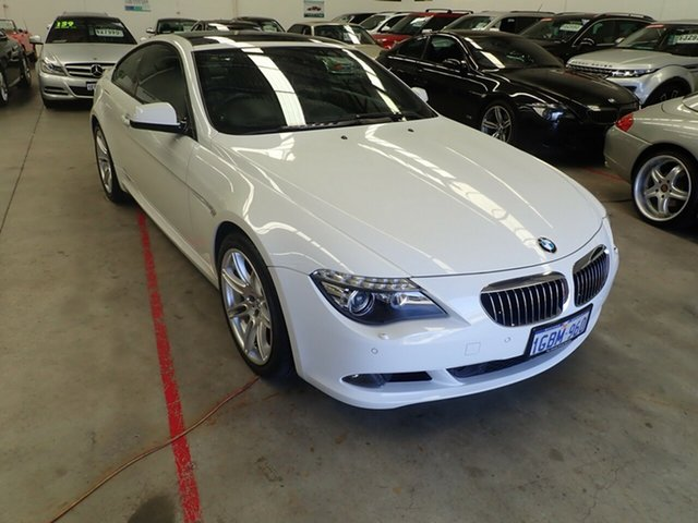 Used BMW 6 Series E63 MY10 650i Steptronic Sport Wangara, 2010 BMW 6 Series E63 MY10 650i Steptronic Sport White Satin 6 Speed Sports Automatic Coupe