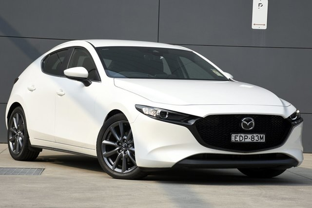 Demo Mazda 3 BP2H7A G20 SKYACTIV-Drive Evolve, 2019 Mazda 3 BP2H7A G20 SKYACTIV-Drive Evolve Snowflake White 6 Speed Sports Automatic Hatchback