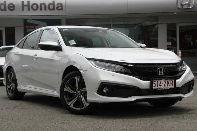 Demo Honda Civic 10th Gen MY19 VTi-LX, 2019 Honda Civic 10th Gen MY19 VTi-LX Platinum White 1 Speed Constant Variable Sedan