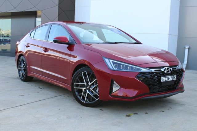 Demo Hyundai Elantra AD.2 MY20 Sport DCT, 2019 Hyundai Elantra AD.2 MY20 Sport DCT Fiery Red 7 Speed Sports Automatic Dual Clutch Sedan